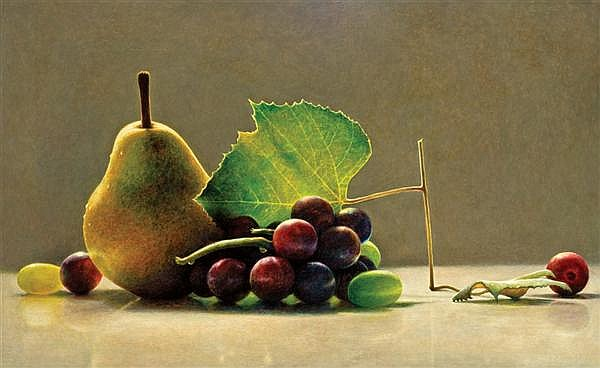 JAMES DEL GROSSO, American (b. 1941), Caro Grapes and Lucia Pear, 1994, oil on canvas, signed on the reverse and dated '94., 32 x 54