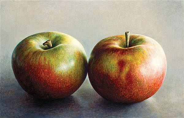 JAMES DEL GROSSO, American (b. 1941), Two High Street Apples, 1994, oil on canvas, signed on the reverse and dated '94., 32 x 50