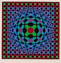 VICTOR VASARELY, French (1906-1997), Untitled, silkscreen, numbered in pencil, lower left, Artist's Proof 4/25, signed in pencil low..