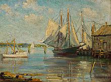 GEORGE ALBERT THOMPSON, American (1868-1938), Boats in Harbor, oil on panel, signed and dated 1917 lower right., 11 3/4 15 5/8