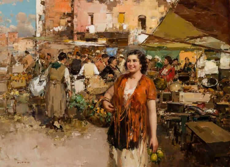 GUISEPPE PITTO, Italian (1857-1928), A Market Scene, oil on canvas, signed lower left., 23 x 31 inches