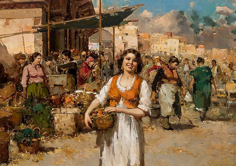 GUISEPPE PITTO, Italian (1857-1928), Woman Holding Basket, oil on canvas, signed lower right., 23 x 31 inches