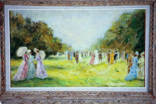 GABRIEL SPAT American (1890-1967) The Promenade, oil on canvas, 14 1/2 x 23 1/2, signed lower right. Provenance: Private collection, Woodbridge, Virginia.