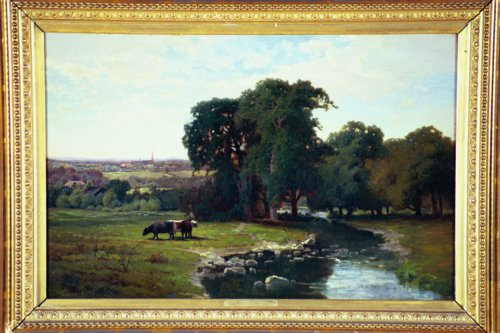 CHARLES HARRY EATON American (1850-1901) River Landscape with Distant Town, oil on canvas, 16 x 24, signed lower left.