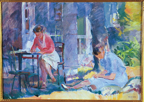 ALICE KENT STODDARD American (1893-1976) Idle Hours, oil on canvas, 25 x 35, signed lower left with signature stamp. Estate stamp verso. Provenance: The Estate of the Artist, David David, Philadelphia, Pennsylvania. See color plate, page