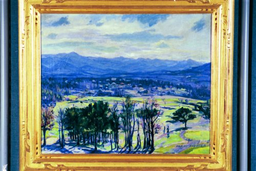 HEINRICH HARRY PFEIFFER American (1874-1960) The Inns Mountain Golf Course, Ashville, North Carolina (Mt. Pisgah), oil on canvas, 25 x 30, signed lower right.