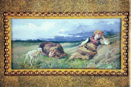 LUIGI BAZZANI Italian (1836-1927) Shepardess at Rest, watercolor & gouache, 5 x 10, initialed lower right.