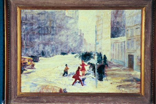 LOUIS WOLCHONOK American (1898-1973) New York in Snow, oil on canvas, 24 x 34, signed lower right & dated '38.