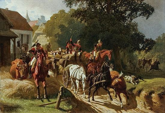 ARTHUR JOHANN SEVERIN NIKUTOWSKI German (1830-1888) The Prussians oil on canvas, signed lower left and dated 1867..