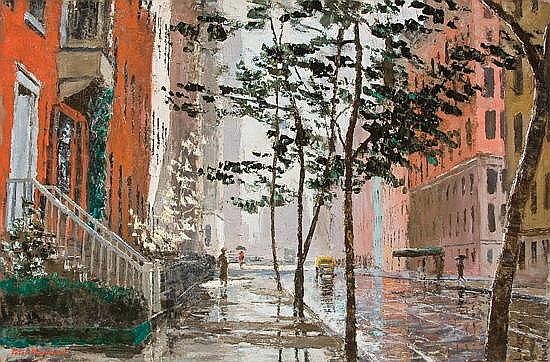 PETER HAYWARD American (1905-1993) Rainy Day in Chelsea oil on canvas, signed lower left.