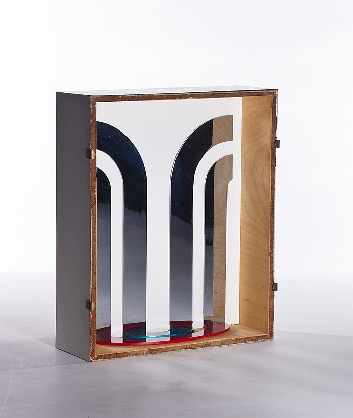 """GERALD LAING, American (1936-2011), """"Backdrop"""", painted metal, signed, titled, dated August 1965 and inscribed """"London, August, 1965..."""