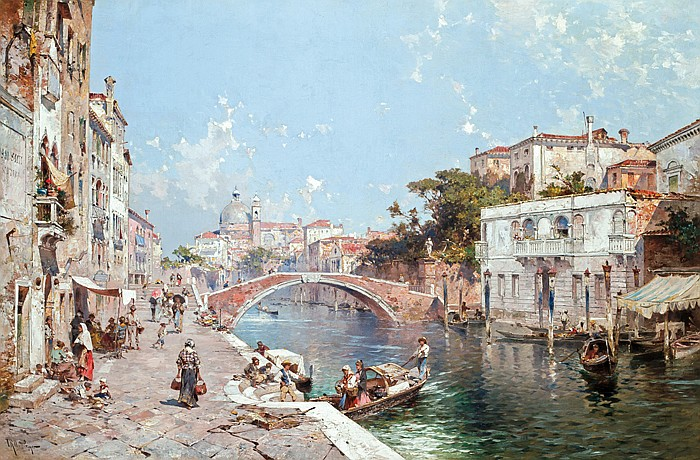 """FRANZ RICHARD UNTERBERGER, Austrian (1838-1902), """"Canal in Venice"""", oil on canvas, signed lower left., 31 x 47"""