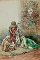 GIOVANNI ANTONIO RAGGI, Italian (1712-1792) , Card Game, watercolor and gouache, signed lower left., 22 x 14 3/4