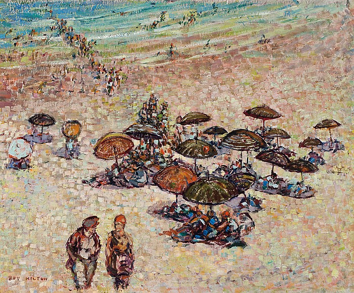 ROY HILTON, American (1891-1963), A Day at the Beach, oil on board, signed lower left., 14 x 16 1/2