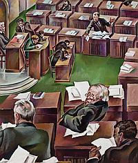 """PEPPINO GINO MANGRAVITE, American (1896-1978), """"The Senate in Session"""", oil on canvas, signed lower right, titled on the reverse, c...."""