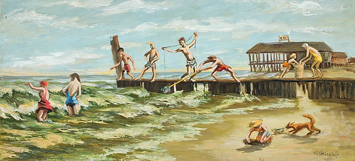 AUGUSTA DENK OELSCHIG, American (1918 - 2000), Activities at the Pier, oil on masonite, signed lower right., 12 3/4 x 27 3/4