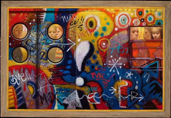 """COLLEEN BROWNING, American (b. 1929), """"Jean's Car"""", oil on canvas, signed lower right., 46 x 67"""