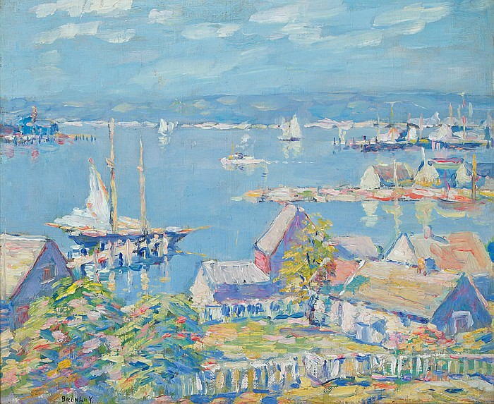DANIEL PUTNAM BRINLEY, American (1879-1963), View of Gloucester, oil on canvas on board, signed lower left., 10 x 12