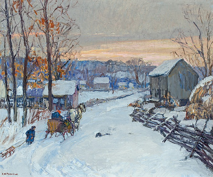 """EDWARD WILLIS REDFIELD, American (1869-1965), """"Sleigh Days"""", oil on canvas, signed lower left, c. 1917., 20 x 24"""