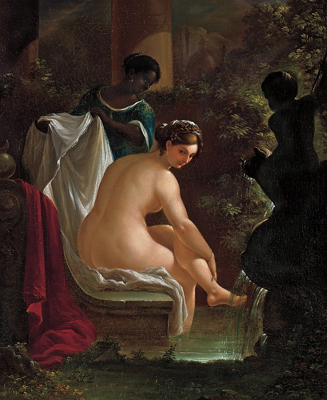NICOLINO VICOMPTE CALYO, American (1799 - 1884), Preparing Her Bath, oil on canvas, signed lower right and dated 1848., 27 x 23