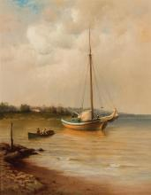 """FRANCIS AUGUSTUS SILVA, American (1835-1886), The Day's Catch, oil on canvas, signed """"F.A. Silva"""" lower left., 23 3/8 x 18 1/2 inche.."""