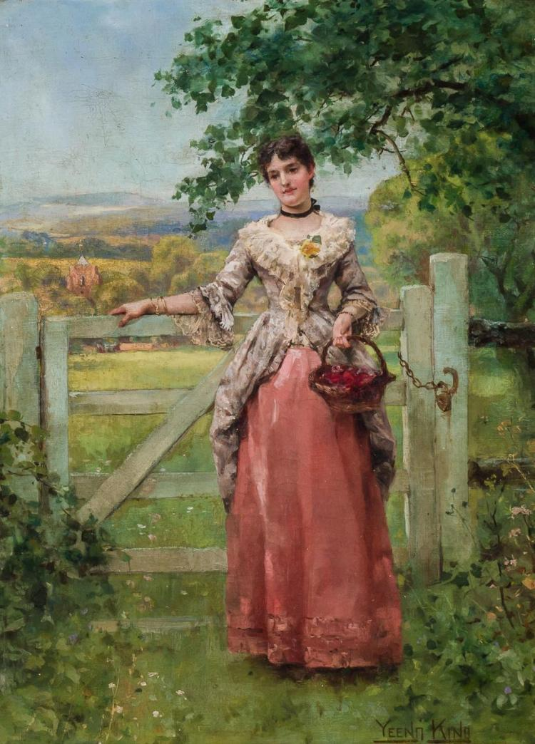 HENRY JOHN YEEND KING, British (1855-1924), Maiden in a Garden, oil on canvas, signed lower right., 17 x 12 1/8 inches