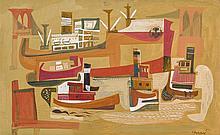 HANANIAH HARARI, American (1912-2000), Dock Scene with Brooklyn Bridge, oil on board, signed