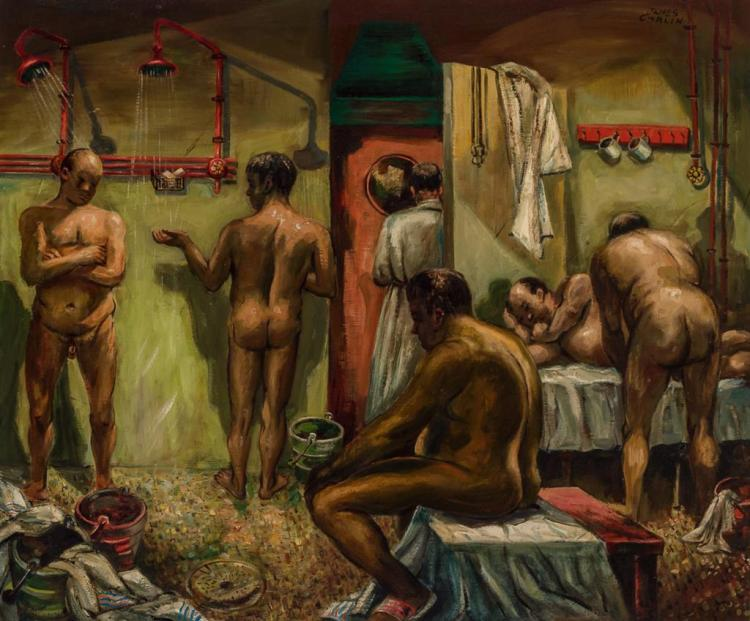 JAMES CARLIN, American/Irish (1906-2005), Bath House, oil on canvas, signed