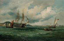 AMERICAN SCHOOL , Harbor Scene, NYC, oil on canvas, signed and dated indistinctly lower left, inscribed illegibly