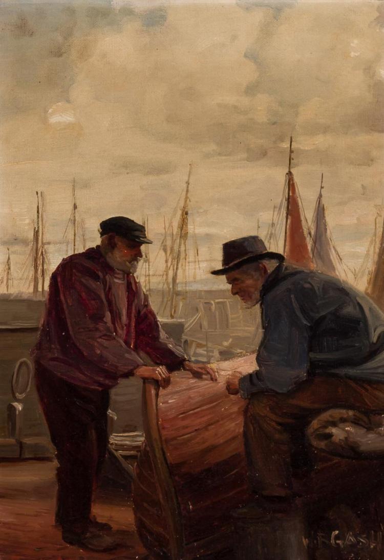 WALTER BONNER GASH, British (1869-1928), Conversation at the Docks, oil on canvas, signed