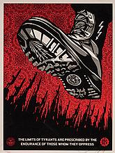SHEPARD FAIREY, American (b. 1970), Tyrant Boot Obey Consume Repeat (A pair), prints, (a) numbered 271/450 lower left, signed lower...