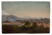 AMERICAN SCHOOL , (19th Century), Mountain Landscape, oil on paper, unsigned., 5 7/8 x 8 3/4 inches