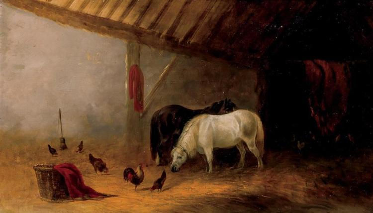 SCHOOL OF JOHN FREDERICK HERRING, English (19th Century), Interior Barn Scene, oil on canvas, unsigned., 14 x 24 inches