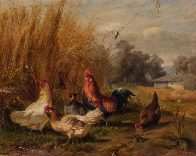 CARL HOLTZ, (19th Century), Roosters and Hens, oil on canvas, signed and dated