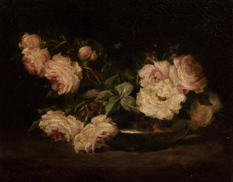EMILY SCOTT, American (1832-1915), Still Life with Roses, oil on canvas, signed lower right., 12 x 15 inches