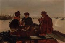 AMERICAN SCHOOL , (20th Century), Fisherman on a Boat, oil on canvas, unsigned., 19 3/4 x 30 inches