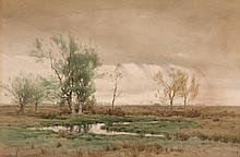HENRY FARRER, American (1843-1903), Landscape, watercolor on paper, signed