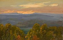 WILL HUTCHINS, American (1878-1945), Golden Sky, oil on board, unsigned., 6 1/8 x 9 1/4 inches