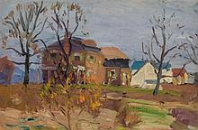 GEORGE GARDNER SYMONS, American (1863-1930), Autumn Landscape with Homes, oil on board, initialled