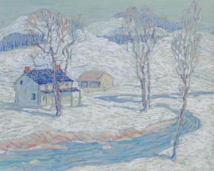 HENRY JAMES SOULEN, American (1888-1965), Winter Landscape, pastel on paper, unsigned., 9 3/4 x 12 inches