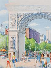 ARTHUR KIMMEL GETZ, American (1913-1996), Washington Square Park, oil and ink on paper, signed
