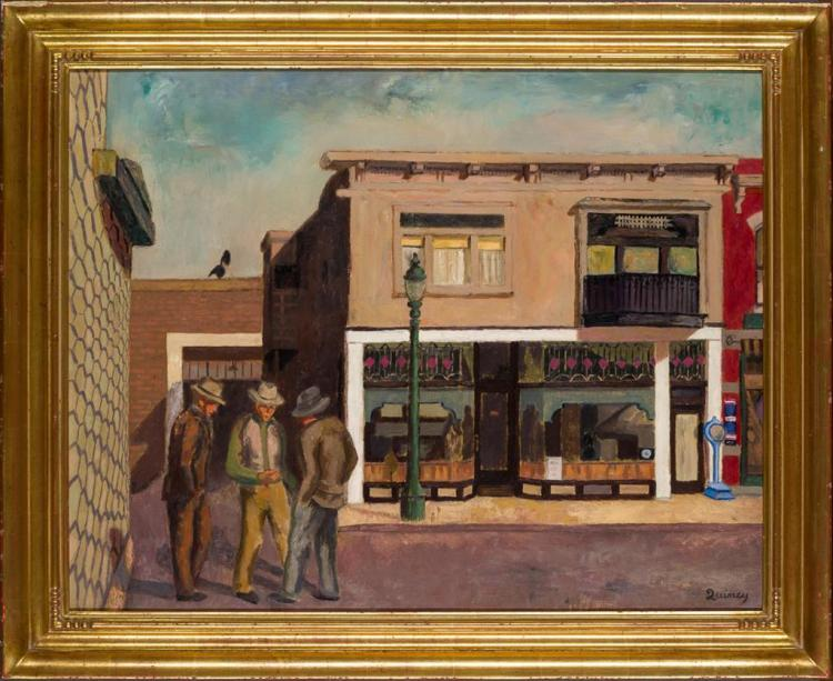 EDMUND QUINCY, American (1903-1997), Sam''s Block, oil on canvas, signed
