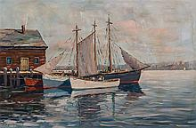 JOHN J. ENWRIGHT, American (1911-2001), Ships in Harbor, oil on canvas, signed