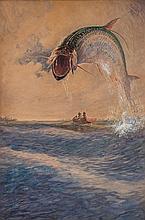 "CHARLES FREDERICK WILLIAM MIELATZ, American (1864-1919), ""The Battle Royal Tarpon"" Captiva Pass, Florida, oil on board, signed ""Miel..."