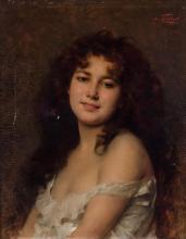 NATHANIEL SICHEL, German (1843-1907), Portrait of a Young Woman, oil on canvas, signed