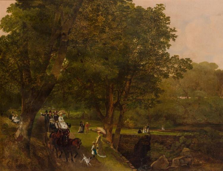 BRITISH SCHOOL , (20th Century), A Day in the Park, oil on canvas, unsigned., 22 1/4 x 28 1/2 inches