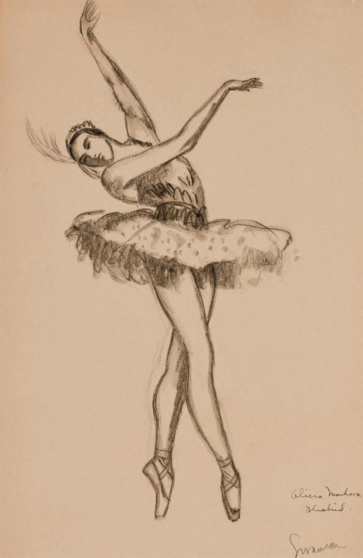 GEORGE ALAN SWANSON, American (1908-1968), Sleeping Beauty Bluebird, Alicia Markarova, charcoal/black watercolor on paper, signed