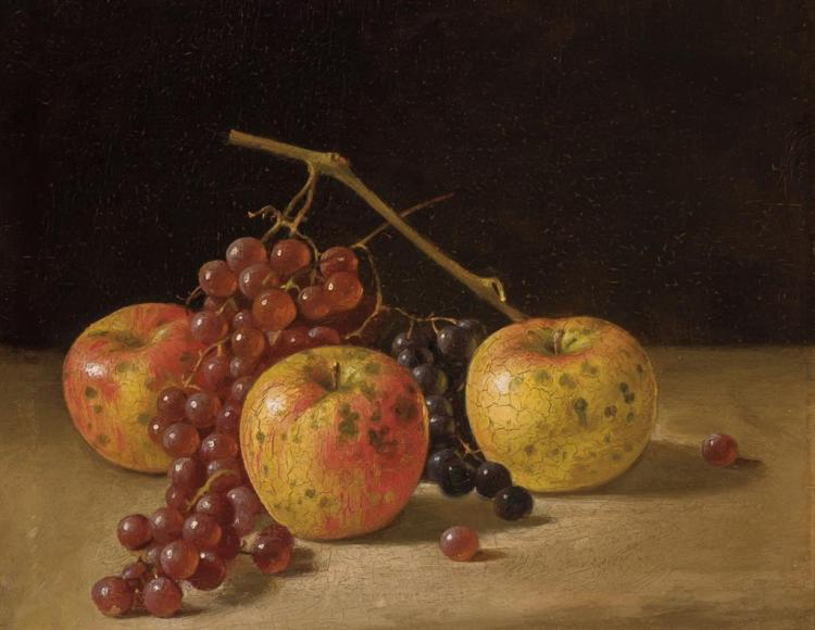 JOHN F. FRANCIS, American (1808-1886), (A Pair) Still Life with Oysters, Whiskey and Biscuits Still Life with Grapes and Apples, oil...