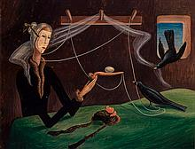 THOMAS ADRIAN FRANSIOLI, American (1906 -1997), Surrealist Portraiture, casein on board, signed and dated