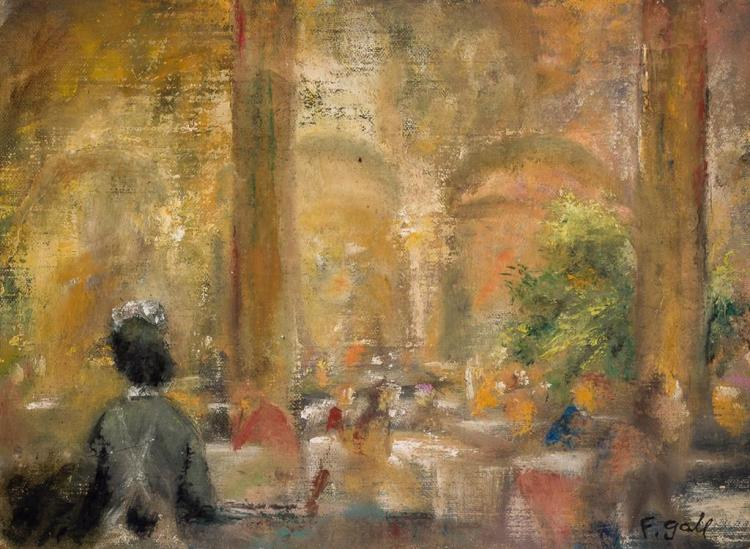 FRANCOIS GALL, French (1912-1987), Paris Restaurant, oil on canvas backed by panel, signed